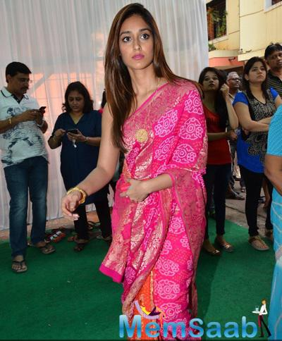Ileana D'Cruz Wore A Pink And Orange Saree At Anurag Basu Saraswati Puja
