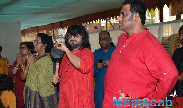 Pritam Chakraborty And Anurag Basu Snapped During Anurag Basu Saraswati Puja