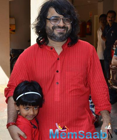 Pritam Chakraborty Smiling Look During Anurag Basu Saraswati Puja