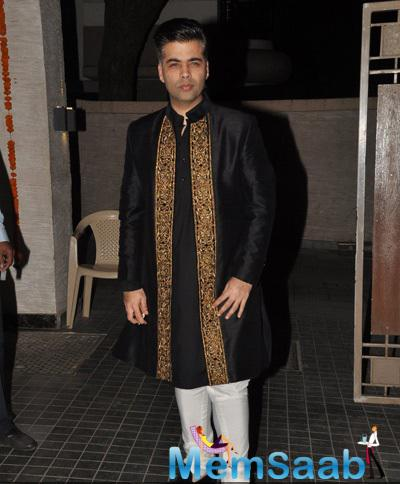 Karan Johar In Black Outfit Smashing Look At Soha Ali Khan And Kunal Khemu Wedding Party