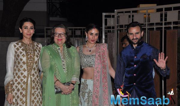 Kareena Kapoor With Sister Karisma,Mom Babita And Hubby Saif Clicked During Soha Ali Khan And Kunal Khemu Wedding Party