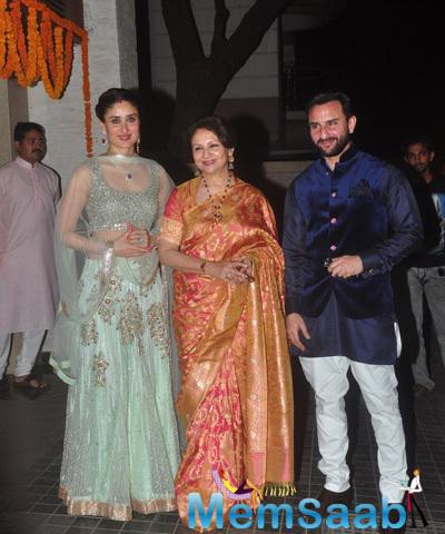 Saif Ali Khan Posed With Wife Kareena Kapoor And Mom Sharmila Tagore At His Sister Soha Ali Khan And Kunal Khemu Wedding Party
