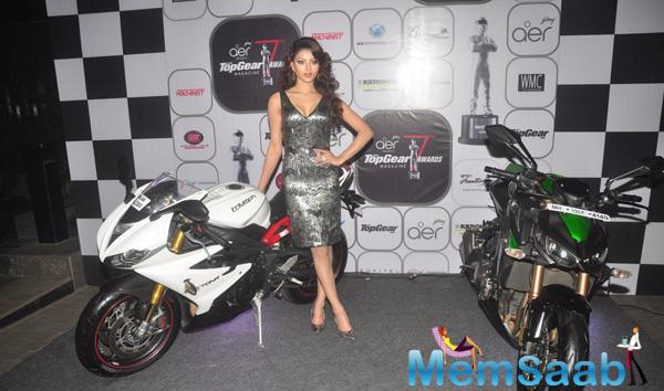 Urvashi Rautela Posed WIth Bike At The 7th Top Gear Awards