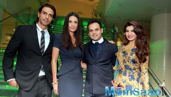 Arjun Rampal With Wife Mehr Jesia Rampal And Jacqueline Fernandez Clicked During The India Art Fair 2015