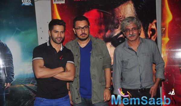 Varun Dhawan,Dinesh Vijan And Sriram Raghavan Posed During The Promotion Of Badlapur At Meboob Studio