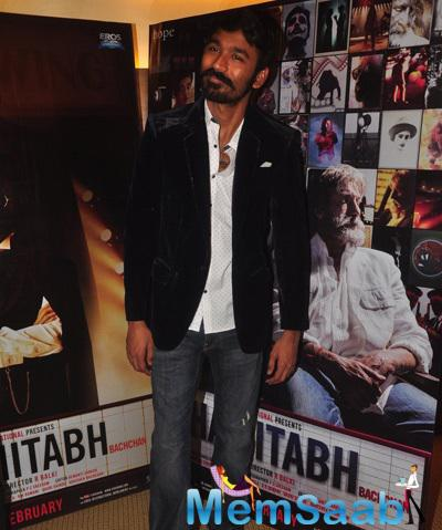 Dhanush Posed At Mehboob Studio During The Promotion Of Shamitabh Movie