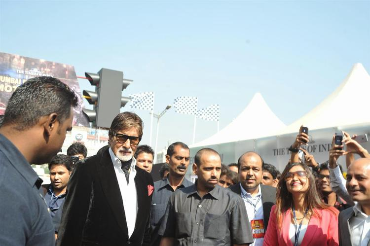 Big B Spotted At Mumbai International Motor Show For Shamitabh Promotion