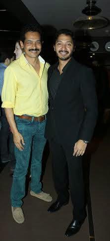 Atul Kulkarni And Shreyas Talpade Cool Pose For Camera During The Premiere Of Shreyas Talpade Starrer Baji