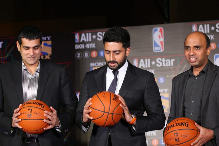 Bollywood Star Abhishek Bachchan At NBA All Stars Press Meet