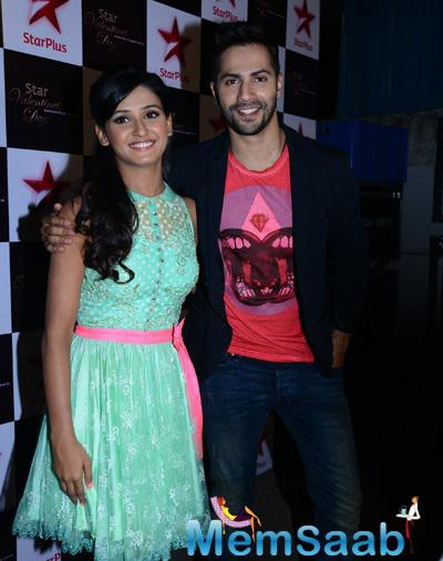 Shakti Mohan And Varun Dhawan Pose For Camera During Star Valentine Day Event