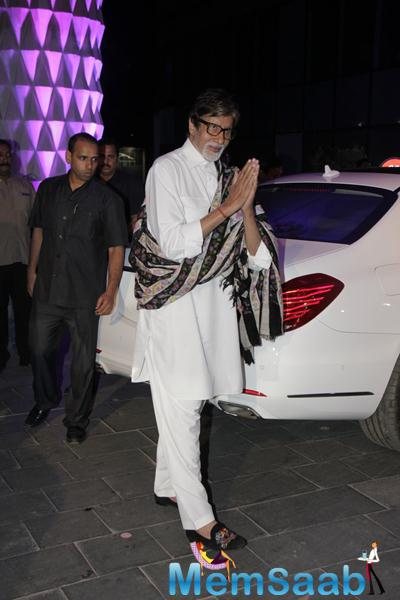 Amitabh Bachchan Greets Fans During Smita Thackerey Son Wedding Reception