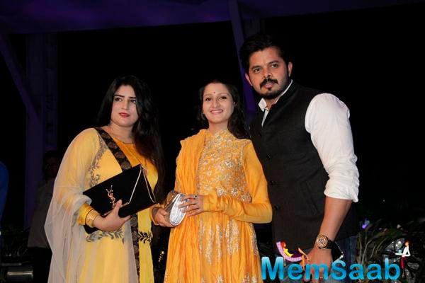 Sreesanth With Wife Bhuvneshwari Kumari Posed During Smita Thackerey Son Wedding Reception