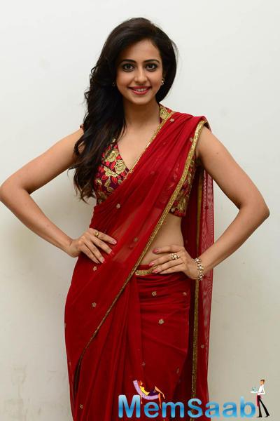 Rakul Preet Singh In Red Saree Spicy Gorgeous Look Still