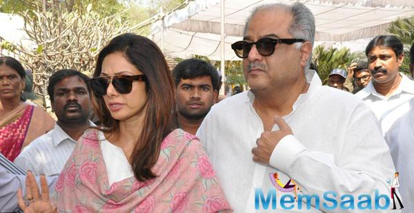 Sridevi Kapoor And Boney Kapoor Paying Their Last Respects To Daggubati Ramanaidu