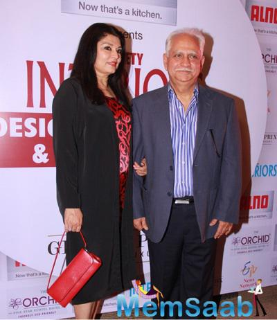 Ramesh Sippy With Wife At Society Interiors Design Competition And Awards