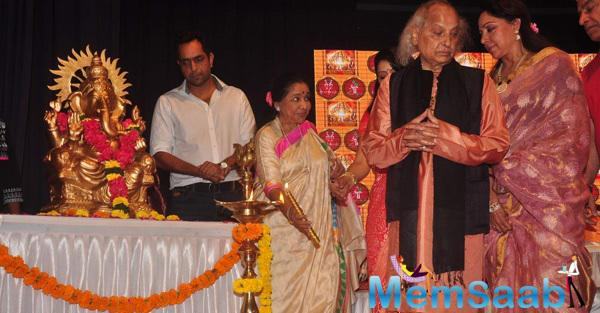 Hema And Asha During The Dr.Veena Mundhra's Shri Hari Vani Gita Devotional Album And Book Launch Event