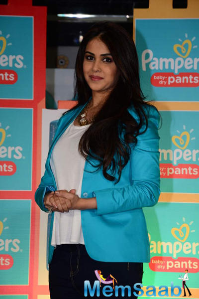Genelia D'Souza Dazzling Beautiful Look At Pampers Press Meet
