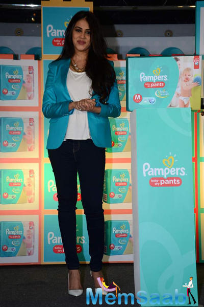 Genelia D'Souza Posed During Pampers Press Meet Event