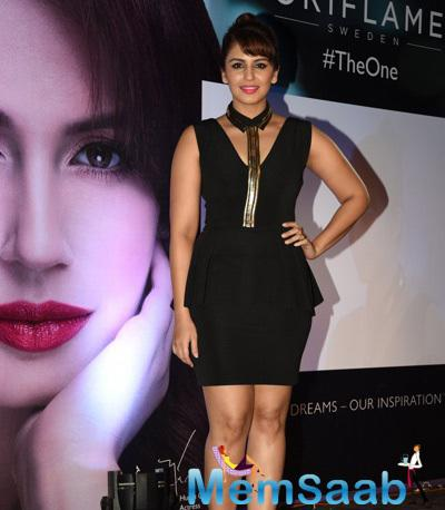 Actor Huma Qureshi During The Launch Of Oriflame`S The One Cosmetics Range In Mumbai