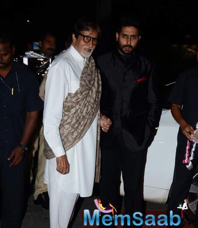 Amitabh Bachchan And Son Abhishek Bachchan Cool Look At Tulsi Kumar And Hitesh Wedding Reception