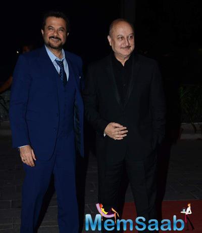 Anil Kapoor And Anupam Kher Cool Smiling Pose At Tulsi Kumar And Hitesh Wedding Reception