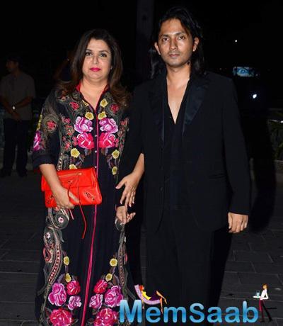 Farah Khan Posed With Hubby Shirish Kunder At Tulsi Kumar And Hitesh Wedding Reception