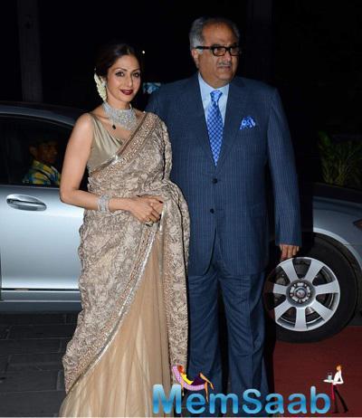 Sridevi And Hubby Boney Kapoor Posed At Tulsi Kumar And Hitesh Wedding Reception