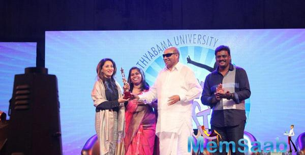 Madhuri Dixit Received Award At International Women's Day By Sathyabama University