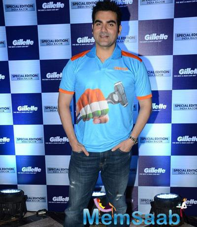 Arbaaz Khan Poses For The Media At Gillette Promotions