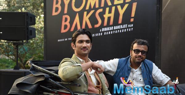Sushant Singh Rajput And Dibakar Banerjee Cool Pose At The 2nd Trailor Launch Of Detective Byomkesh Bakshi