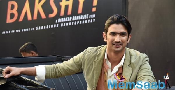Sushant Singh Rajput Smiling Look During The 2nd Trailor Launch Of Detective Byomkesh Bakshi