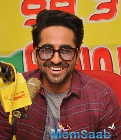 Ayushmann Khurrana Flashes A Sweet Smile During The Promotion Of Dum Laga Ke Haisha At Radio Mirchi Studio