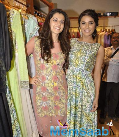 Taapsee Pannu And Madhurima Tuli  Cool Smiling Pose At The Launch Of Kanika Kedia Spring Summer Collection 2015