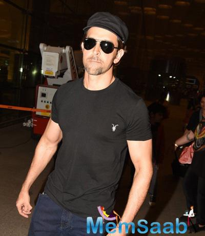 Hrithik Roshan Dashing Dazzling Look Snapped At Airport