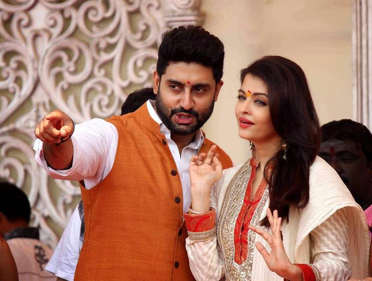 Abhishek And Aishwarya Cool Look During Gudi Padwa Celebrations