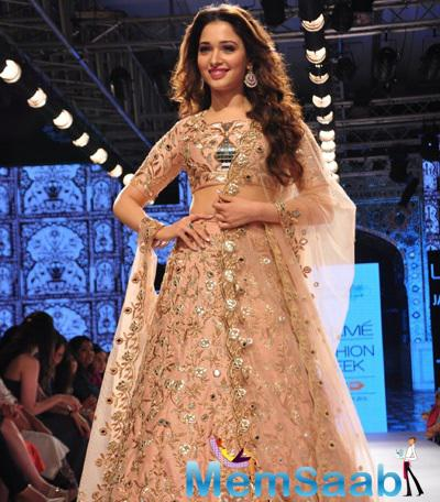 Tamannaah Bhatia Walks The Ramp As Showstopper For Payal Singhal Show At  LFW