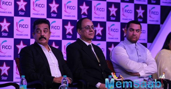 Aamir And Kamal Hassan At FICCI FRAMES 2015 Inaugural Session