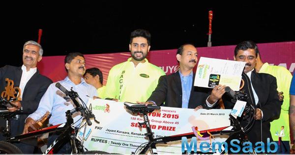 Abhishek Bachchan At 'Nashik Peloton'-A 150 Km Cycling Race As Chief Guest