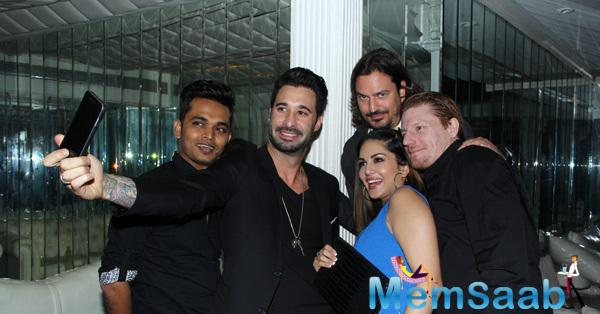 Sunny Clicked A Selfie With Hubby And Others At Mahi's Birthday Bash