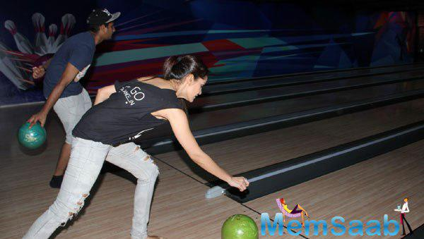 Shazahn Padamsee Enjoys A Game Of Bowling