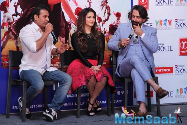 Jas Arora,Bobby Khan And Sunny During The Promotion Of Ek Paheli Leela In Delhi