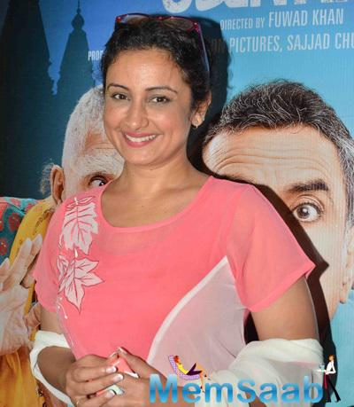 Divya Dutta Smiling Pose During The Premiere Of Film Dharam Sankat Mein