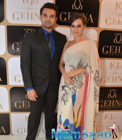 Mahaakshay Chakraborty And Evelyn Sharma Posed At The Launch Of Karan Johar Limited Edition Holiday Line For Gehna Jewellers