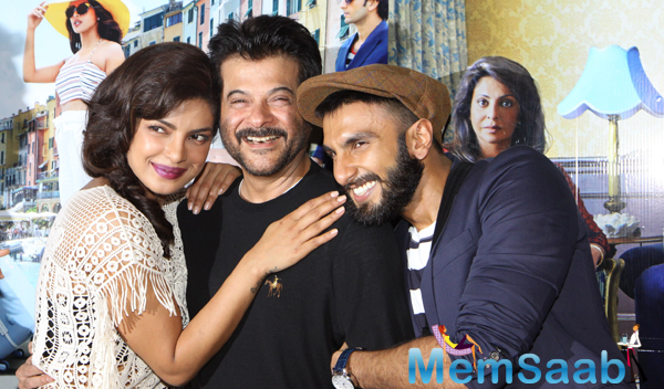 Priyanka Chopra,Anil Kapoor And Ranveer Singh Posed During The Trailer Launch Of Dil Dhadakne Do
