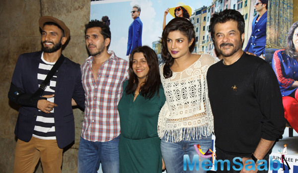 Ranveer Singh,Zoya Akhtar,Priyanka Chopra And Anil Kapoor Clicked During Dil Dhadakne Do Trailer Launch