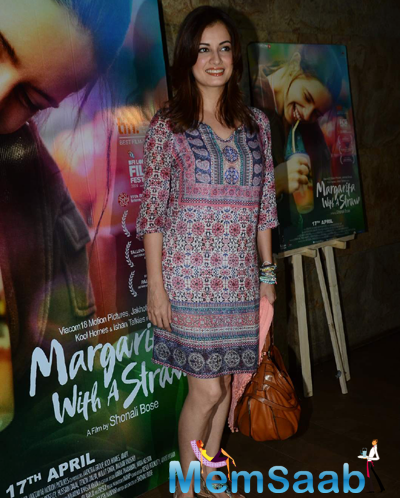 Dia Mirza Smiling Look At The Screening Of Margarita With A Straw