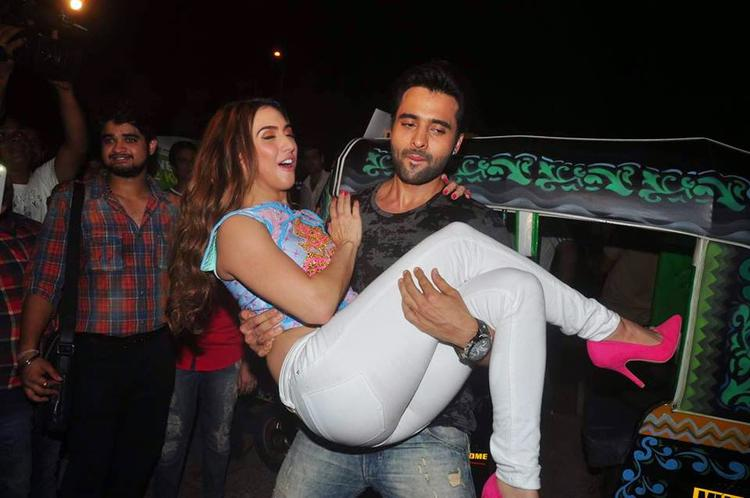 Jackky Carring Lauren During A Promotion For Their Latest Movie Welcome To Karachi