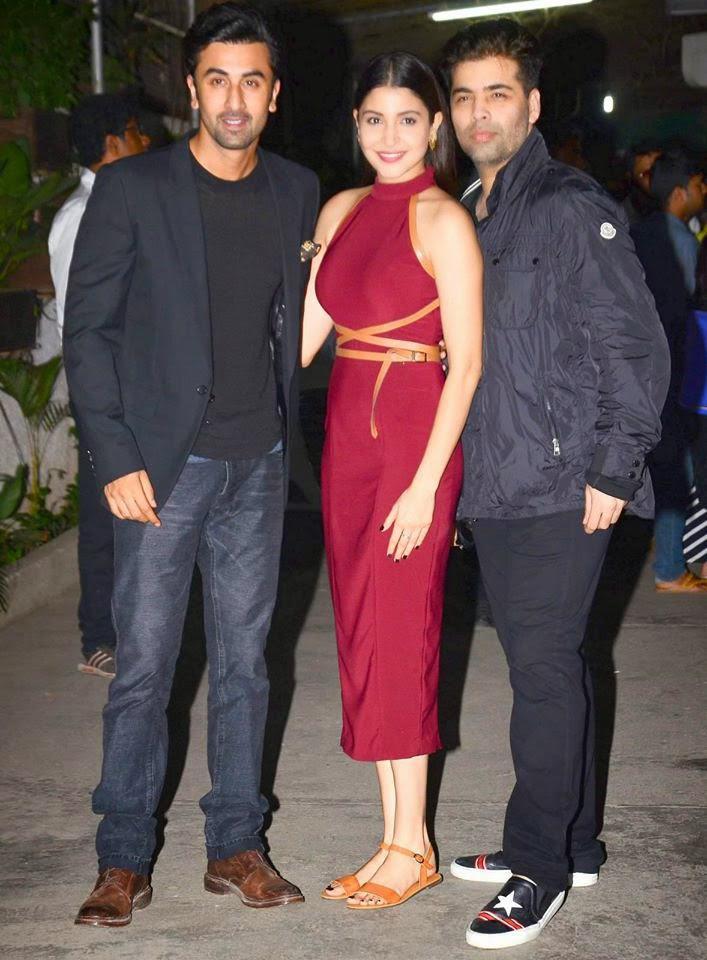 Ranbir Kapoor,Anushka Sharma And Karan Johar Posed For Camera At The Screening Of Bombay Velvet