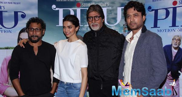 Deepika,Amitabh,Irrfan And Soorjit Sircar Attend Piku Press Meet
