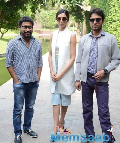 Director Shoojit Sircar,Deepika Padukone And Irrfan Khan Posed At Delhi During The Promotion Of Piku